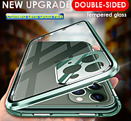 abordables -téléphone Coque Pour Apple Coque Intégrale Adsorption Magnétique iPhone 11 iPhone 11 Pro iPhone 11 Pro Max Transparente Magnétique Protecteur d'objectif de caméra Couleur Pleine Verre Trempé Métal