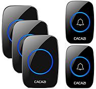 abordables -cacazi sans fil étanche sonnette 300 m gamme nous ue royaume-uni au plug maison intelligente porte sonnette carillon 2 pcs bouton 3 pcs récepteur
