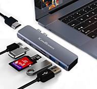 abordables -KawBrown Haut débit Indicateur LED Avec lecteur de carte (s) USB 3.0 de USB C à HDMI 2.0 USB 3.0 USB 3.0 de USB C carte SD Carte TF Concentrateur USB 7 Les ports Pour Windows, PC, ordinateur portable