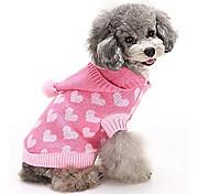 economico -Gatto Cane Maglioni Felpa Vestiti del cucciolo Con cuori Casual Inverno Abbigliamento per cani Vestiti del cucciolo Abiti per cani Caldo Blu Rosa Costume per ragazza e ragazzo cane Pile XS S M L XL
