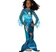 abordables -La Petite Sirène Princesse Robe Robe de demoiselle d'honneur Fille Cosplay de Film Robe trapèze robe de vacances Bleu Robe Le Jour des enfants Mascarade Satin / Tulle