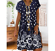 abordables -Femme Robe Droite Robe Longueur Genou Rouge Bleu Marine Gris Manches Courtes Fleurie Imprimé Eté Col en V chaud Simple 2021 M L XL XXL 3XL 4XL 5XL