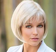 abordables -Perruque Synthétique Bouclé Mat Bob Coupe Carré Perruque Court Blanc crème Cheveux Synthétiques 6 pouce Femme Design à la mode Faciliter l'habillage Blanc