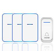 abordables -cacazi étanche sans fil musique sonnette 1 bouton 3 récepteur 300m à distance intelligent led lumière maison porte cloche carillon sans fil régulation multi-niveaux