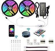 economico -KWB 2x5m Set luci Strisce luminose RGB Luci intelligenti 300 LED SMD5050 10mm 1 adattatore 12V 6A 1Impostare la staffa di montaggio 1 set Colori primari Impermeabile Controllo APP Accorciabile