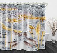 abordables -Rideau de douche en tissu imperméable imprimé numérique étang de lotus pour salle de bain décor à la maison couvert de rideaux de bain