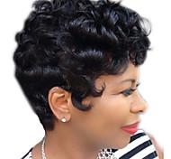 abordables -Perruque Synthétique Bouclé Coupe Lutin Perruque Court Noir Cheveux Synthétiques 12 pouce Femme simple Vie Homme Noir