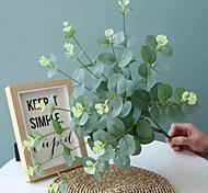 abordables -50 cm 4 fourche eucalyptus feuille d'argent fleur mur route de mariage dédié fleurs artificielles 1 bâton