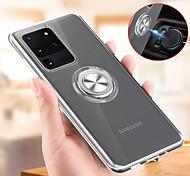 economico -telefono Custodia Per Samsung Galaxy Per retro Silicone Custodia in silicone S20 Ultra S10 + Note 10 + Resistente agli urti Con supporto Supporto ad anello Transparente TPU Silicone Metallo