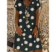 abordables -Femme Robe Droite Robe Longueur Genou Noir Jaune Kaki Vert Manches Courtes Marguerite Fleurie Imprimé Eté Col en V chaud Simple S M L XL XXL 3XL 4XL / Grandes Tailles