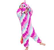 abordables -Enfant Élémentaire Camouflage Pyjamas Kigurumi Tenues de nuit Licorne Combinaison de Pyjamas Flanelle fibre de polyester Arc-en-ciel Cosplay Pour Garçons et filles Pyjamas Animale Dessin animé Fête
