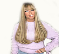 abordables -Perruque Synthétique Bouclé Partie médiane Perruque Long Or clair Cheveux Synthétiques 18 pouce Femme simple Vie Homme Blond