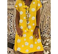 abordables -Femme Robe Droite Robe Longueur Genou Noir Jaune Kaki Vert Manches Courtes Marguerite Fleurie Imprimé Eté Col Rond chaud Simple 2021 S M L XL XXL 3XL 4XL