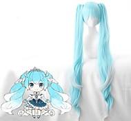 economico -Vocaloid Snow Miku Parrucche Cosplay Per donna Con 2 coda di cavallo Con frangia 28 pollice Tessuno resistente a calore Riccio Blu Teen Per adulto Parrucca Anime