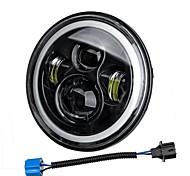 economico -7 '' 75w 6000k drl ambra halo angle eyes proiettore a led rotondi fari hi / lo luce del segnale di svolta per harley / yamaha / jeep