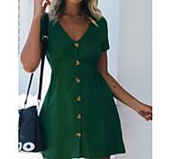 economico -Per donna Abito linea A Mini abito corto Bianco Nero Rosso Giallo Rosa Verde Verde chiaro Blu marino Manica corta Tinta unica Estate A V Casuale 2021 S M L XL XXL