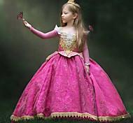 abordables -Princesse Aurora Robe Costume de Cosplay Fille Cosplay de Film Robe trapèze robe de vacances Halloween Fushia Robe Halloween Carnaval Mascarade Dentelle Polyester