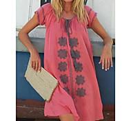 economico -Per donna Abito linea A Mini abito corto Blu Giallo Rosa Verde chiaro Beige Manica corta Fantasia floreale Estate Rotonda Elegante Boho abiti da vacanza 2021 S M L XL XXL 3XL 4XL 5XL