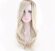 abordables -Perruque Synthétique Bouclé Coupe Asymétrique Perruque Longue Blond clair Cheveux Synthétiques 18 pouce Femme simple Classique Homme Blond