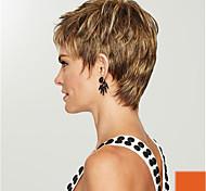 abordables -Perruque Synthétique Droit crépu Coupe Lutin Perruque Court Brun claire Cheveux Synthétiques 18 pouce Femme simple Vie Classique Marron