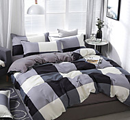 abordables -simple vent noir et blanc série damier impression motif literie quatre pièces housse de couette drap de lit taie d'oreiller dortoir unique double