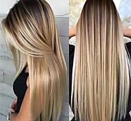 abordables -perruque blonde longue lumière dorée ombre rose cheveux synthétiques 26 pouces femmes cheveux surlignés / balayage racines sombres (non-dentelle)