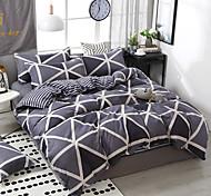 abordables -simple vent confortable impression motif literie quatre pièces housse de couette drap de lit taie d'oreiller dortoir simple double