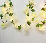 abordables -2pcs 2m 20leds fleurs de cerisier artificielles fleur led guirlandes de fées 2pcs 1pc mariage fête de la saint valentin décoration guirlande éclairage blanc chaud (livré sans batterie)