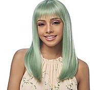 abordables -perruque synthétique droite Halloween perruque soignée moyenne longueur cheveux synthétiques verts 20 pouces femmes meilleure qualité cheveux verts