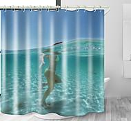 abordables -eau de mer plage beauté impression numérique étanche tissu rideau de douche pour salle de bain décor à la maison couvert baignoire rideaux doublure comprend avec crochets