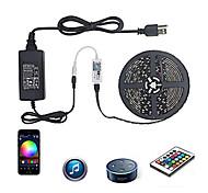 economico -ZDM® 5m Set luci Strisce luminose RGB Luci intelligenti 300 LED SMD5050 10mm 1 adattatore 12V 6A 1 telecomando da 24Keys 1 set Colori primari Impermeabile Controllo APP Collagabile 110-240 V