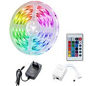 abordables -ZDM 5m Bande lumineuse LED Ruban LED Tiktok Lights 300 x 2835 8mm IR 24 touches télécommande avec UE US 12V 2A Power AC100-240V