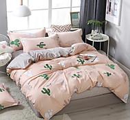 abordables -simple motif de cactus de vent impression literie quatre pièces housse de couette drap de lit taie d'oreiller dortoir simple double