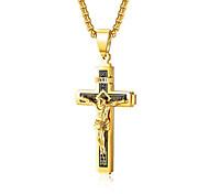 economico -Collane con ciondolo Classico Croce Di tendenza Acciaio al titanio Oro Argento Arcobaleno 50 cm Collana Gioielli Per