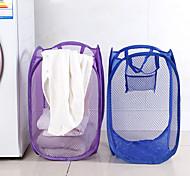 abordables -pliable en nylon maille tissu panier à linge stockage jouet orgnizer panier de lavage vêtements sales articles divers panier couleur bonbon