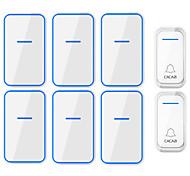 abordables -cacazi étanche sans fil sonnette 2 bouton 6 récepteur 300 m à distance intelligent led lumière maison porte cloche carillon sans fil