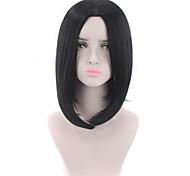 abordables -Perruque Synthétique Droit crépu Partie médiane Perruque Court Noir Cheveux Synthétiques 12 pouce Femme Design Tendance Vie Classique Noir