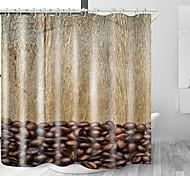 abordables -grains de café impression numérique tissu imperméable rideau de douche pour salle de bain décor à la maison couvert baignoire rideaux doublure comprend avec crochets