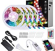 abordables -4x5M Bande lumineuse LED Ruban LED Ensemble de Luminaires Barrette d'Eclairage RGB 600 LED SMD5050 10mm 1 24Keys Télécommande 1x 1 à 4 connecteur de câble 1Set Support de montage 1 set RGB Imperméable