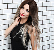abordables -Cheveux tissés dégradé de couleur / Cheveux en gros Perruque Synthétique Bouclé Ondulation Partie médiane Partie latérale Coupe Droite Perruque Très long Ombre Blanc Cheveux Synthétiques 26 pouce