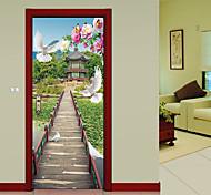 abordables -3D Taiping Pigeon Pont En Bois Paysage Cascades Porte Sticker Mural Salon Cuisine PVC Auto-adhésif Autocollant Imperméable Sur Les Portes Papier Peint 1 Set 2 pcs