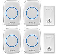 abordables -cacazi fa60 sonnette sans fil auto-alimenté étanche maison intelligente porte anneau cloche 4 pcs récepteurs émetteur