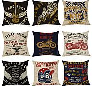 economico -Fodera per cuscino in lino da 9 pezzi, classico tradizionale tradizionale vintage classico americano hard rock