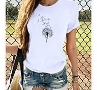 economico -Per donna maglietta Pop art Con stampe Rotonda Top 100% cotone Essenziale Top basic Cane Bianco Nero