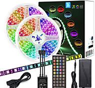 abordables -ZDM 10m (2 * 5m) Musique de circuit imprimé noir de haute qualité Contrôle synchrone Barre lumineuse flexible 600 x 5050 Bande de lumière LED RGB étanche et contrôleur de clé IR 40 avec kit