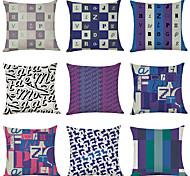 economico -Fodera per cuscino in lino 9 pezzi, classico tradizionale tradizionale quadrato geometrico moderno alfabeto inglese
