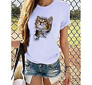 economico -Per donna maglietta Pop art 3D Con stampe Rotonda Top 100% cotone Essenziale Top basic Panda Marrone