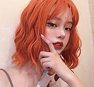 abordables -Perruque Synthétique Bouclé Avec Frange Perruque Court Orange Cheveux Synthétiques 12 pouce Femme simple Vie Homme Rouge