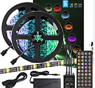 abordables -ZDM PCB noir de haute qualité 10 m (2 * 5 m) synchronisation de la musique contrôle synchrone barre lumineuse flexible 5050 RVB IR 40 contrôleur de clé avec kit adaptateur 12V 4A