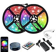economico -10m Strisce luminose LED flessibili Strisce luminose RGB Luci intelligenti 300 LED SMD5050 1 adattatore 12V 6A 1 telecomando da 24Keys Connettore cavo 1 a 2 1 set RGB + Bianco Impermeabile Controllo